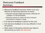 relevance feedback summary