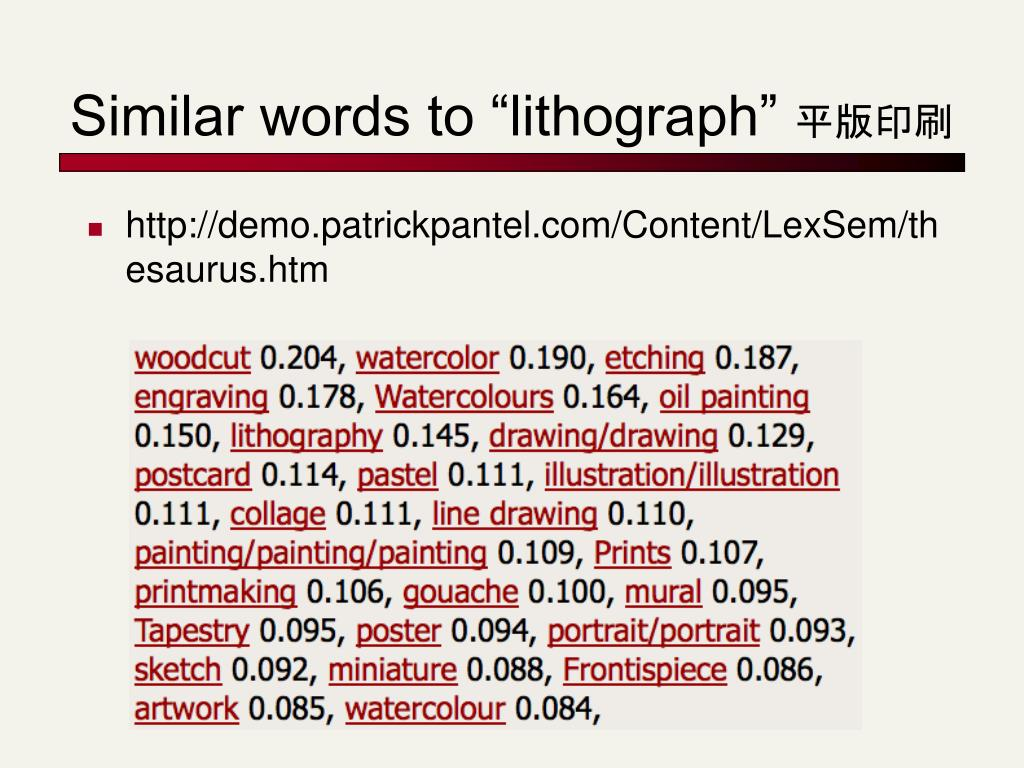 """Similar words to """"lithograph"""""""