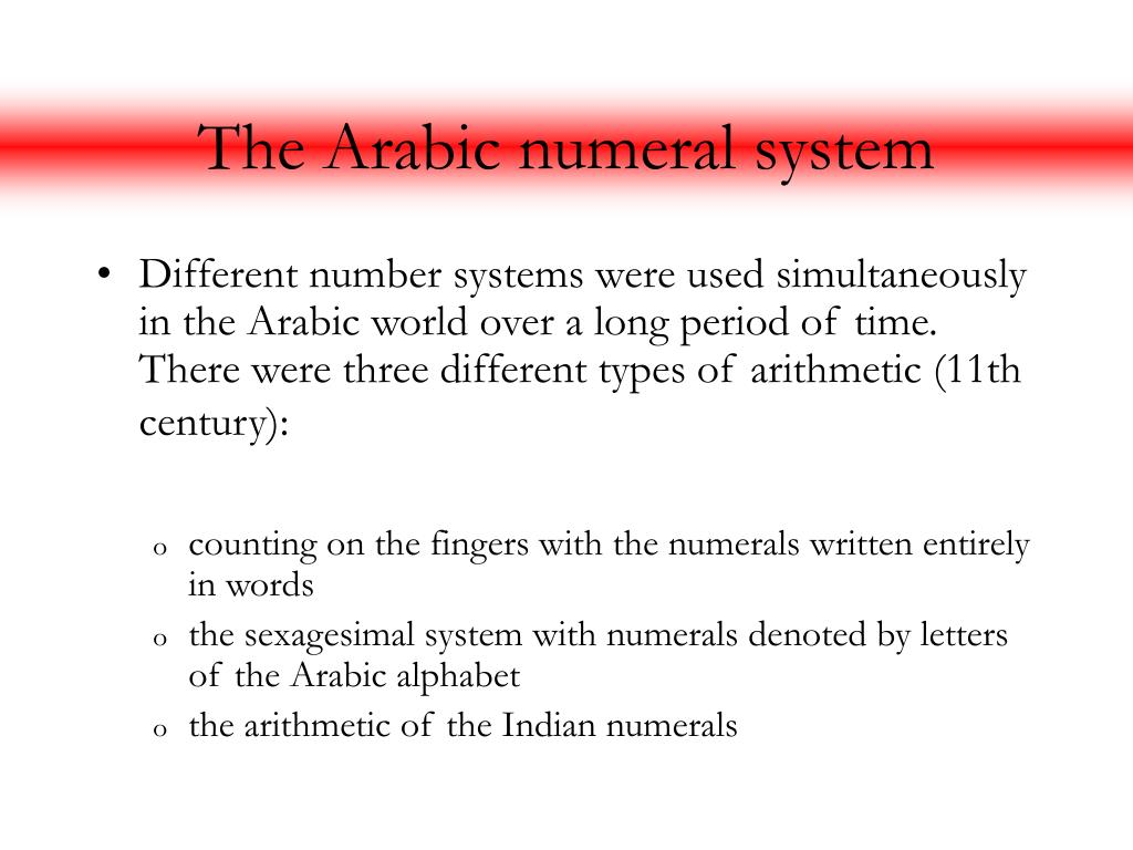 The Arabic numeral system