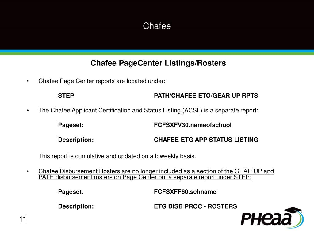 Chafee PageCenter Listings/Rosters