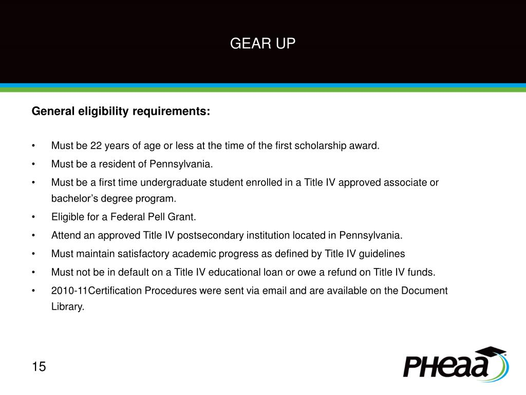 General eligibility requirements: