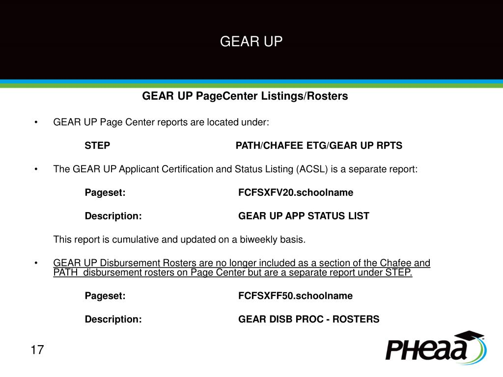 GEAR UP PageCenter Listings/Rosters