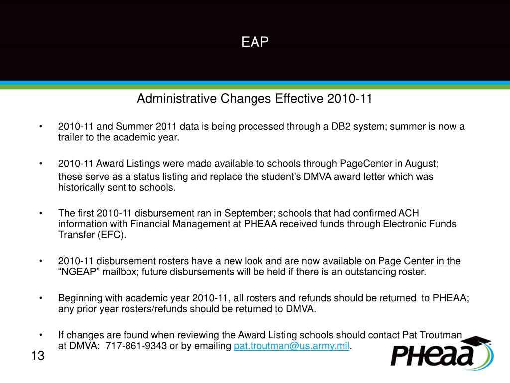 Administrative Changes Effective 2010-11