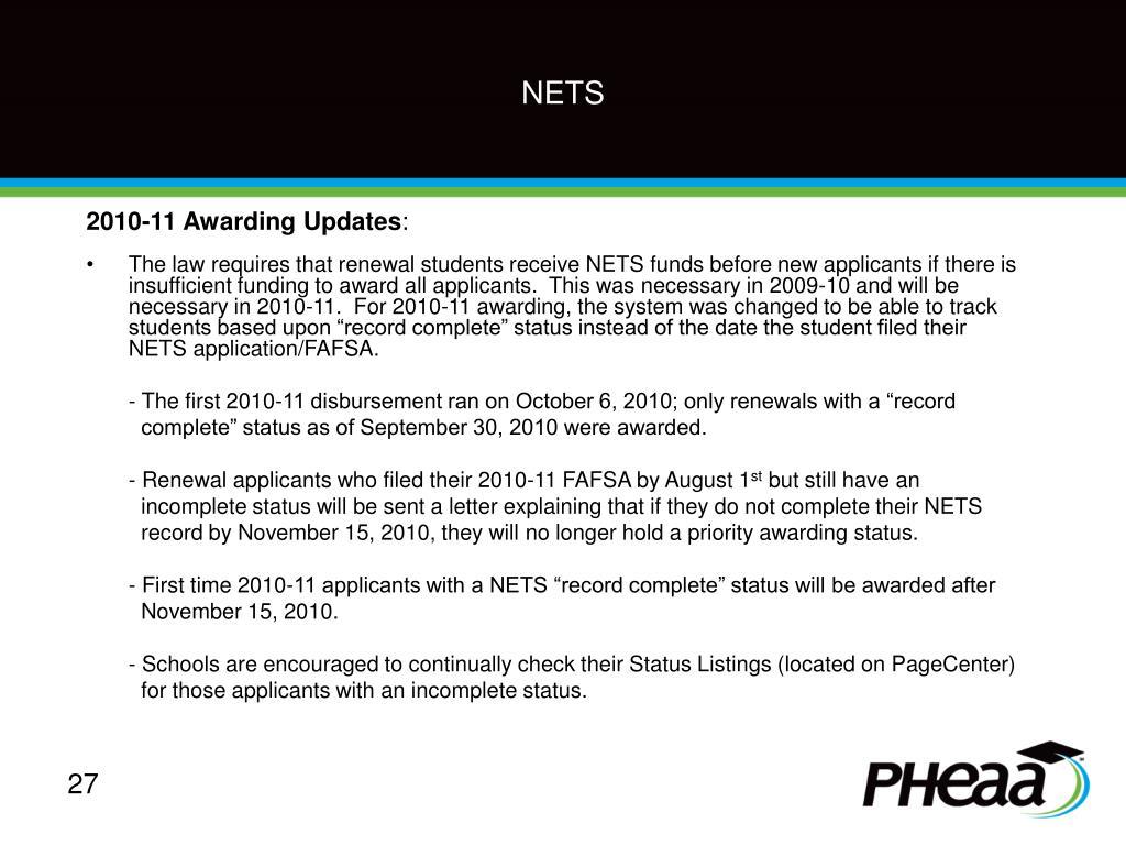 2010-11 Awarding Updates
