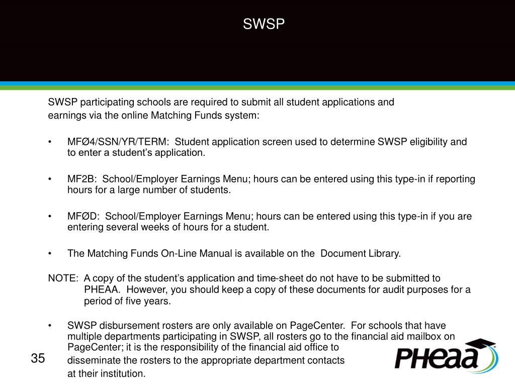 SWSP participating schools are required to submit all student applications and