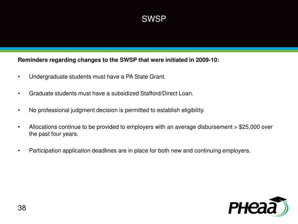 Reminders regarding changes to the SWSP that were initiated in 2009-10:
