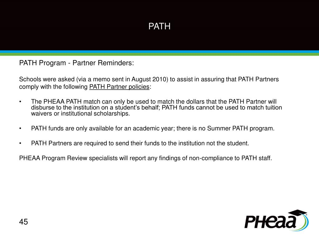 PATH Program - Partner Reminders: