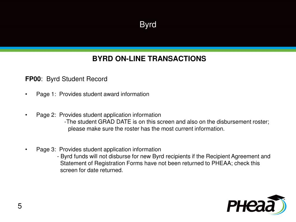 BYRD ON-LINE TRANSACTIONS
