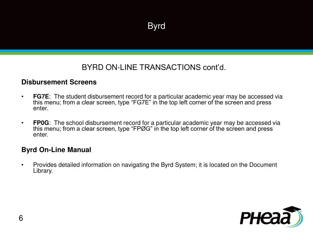 BYRD ON-LINE TRANSACTIONS cont'd.