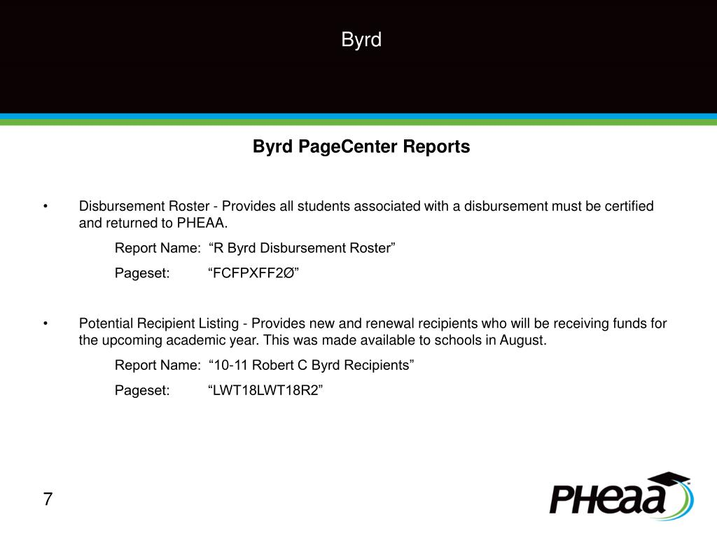 Byrd PageCenter Reports