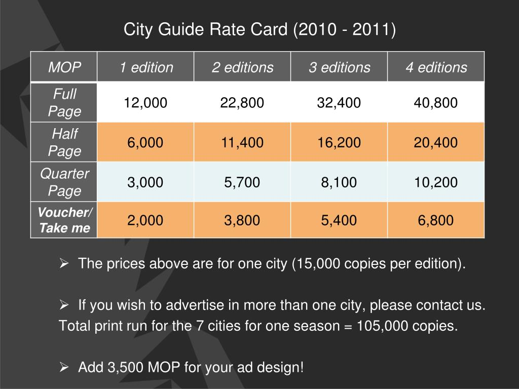City Guide Rate Card (2010 - 2011)