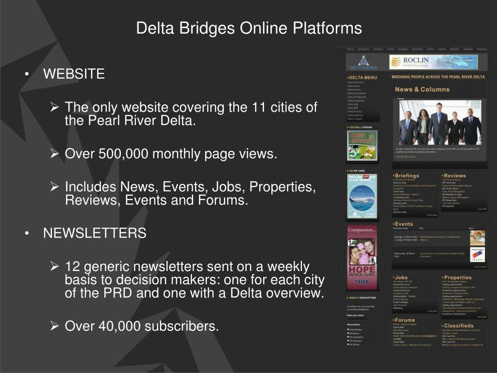 Delta Bridges Online Platforms