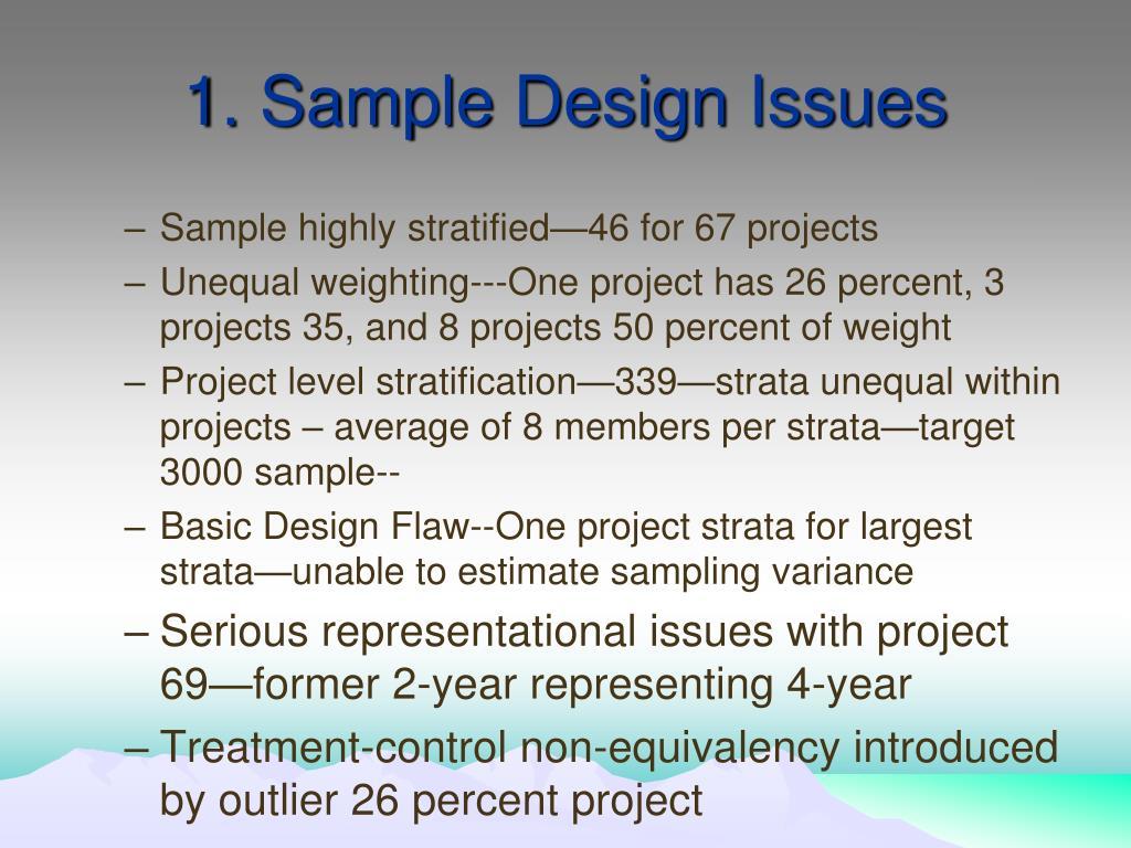 1. Sample Design Issues