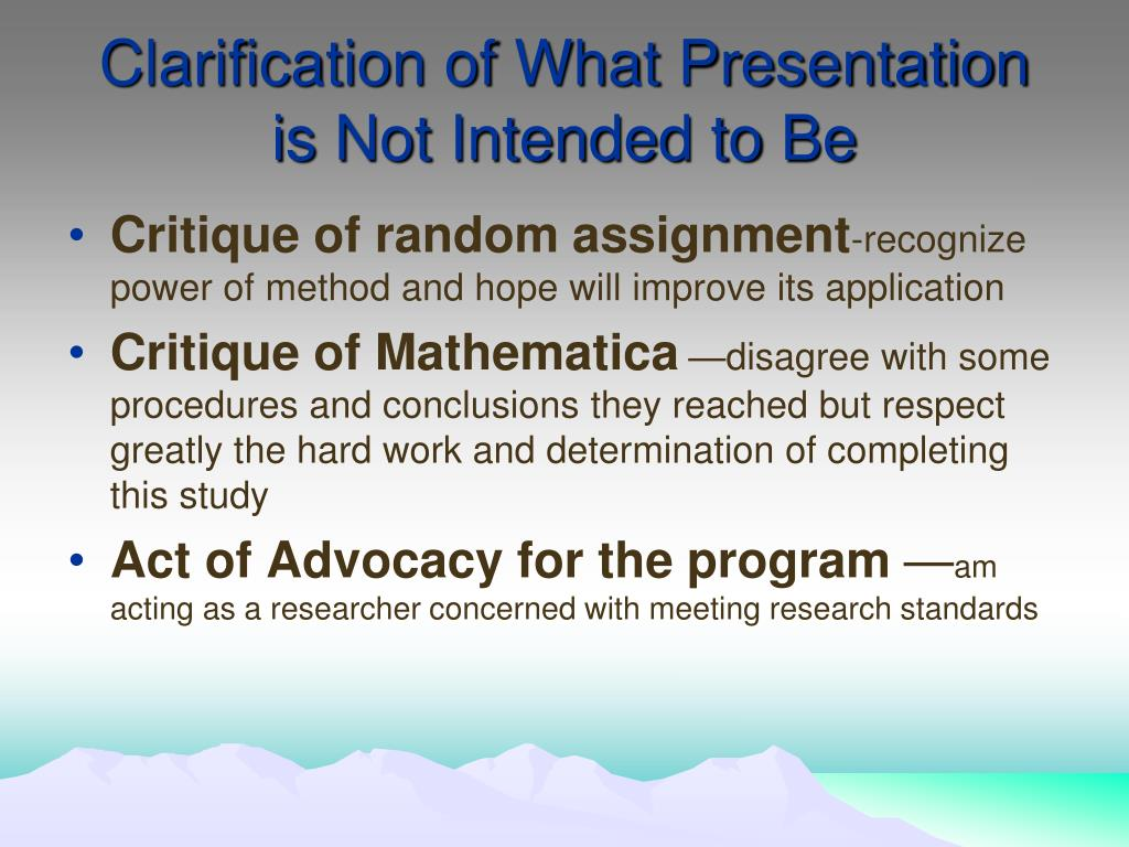 Clarification of What Presentation is Not Intended to Be