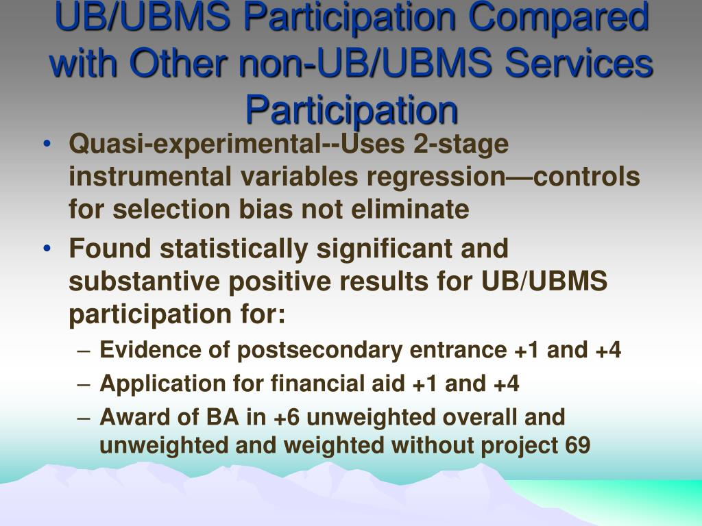 UB/UBMS Participation Compared with Other non-UB/UBMS Services Participation
