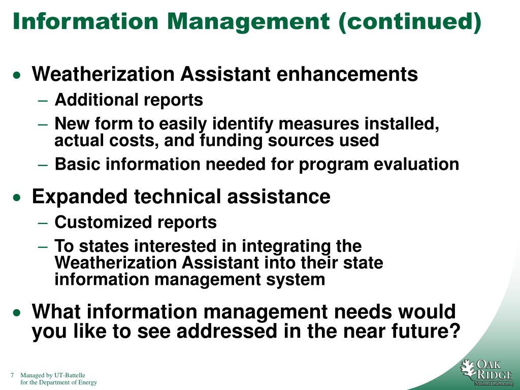 Information Management (continued)