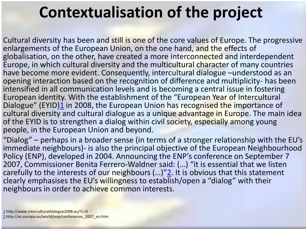 Contextualisation of the project
