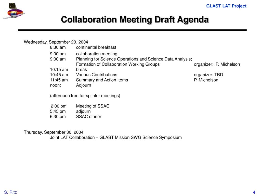 Collaboration Meeting Draft Agenda