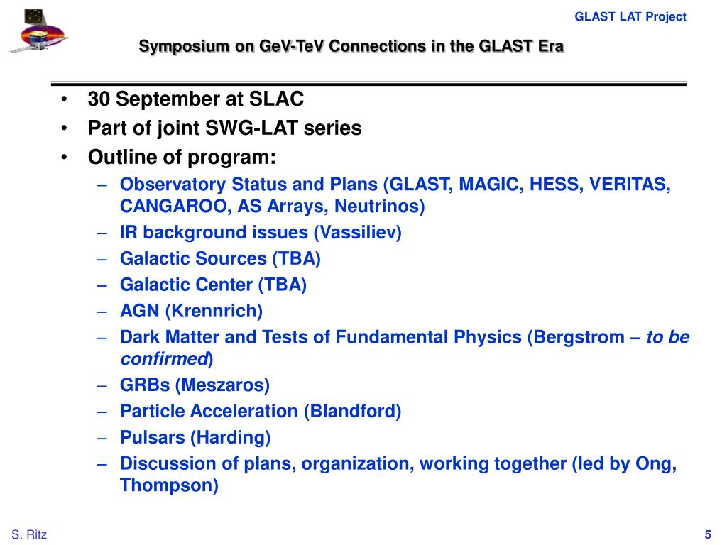 Symposium on GeV-TeV Connections in the GLAST Era