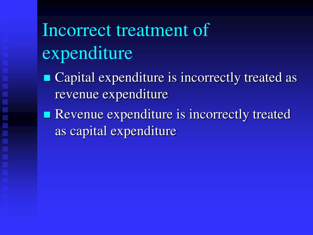 Incorrect treatment of expenditure