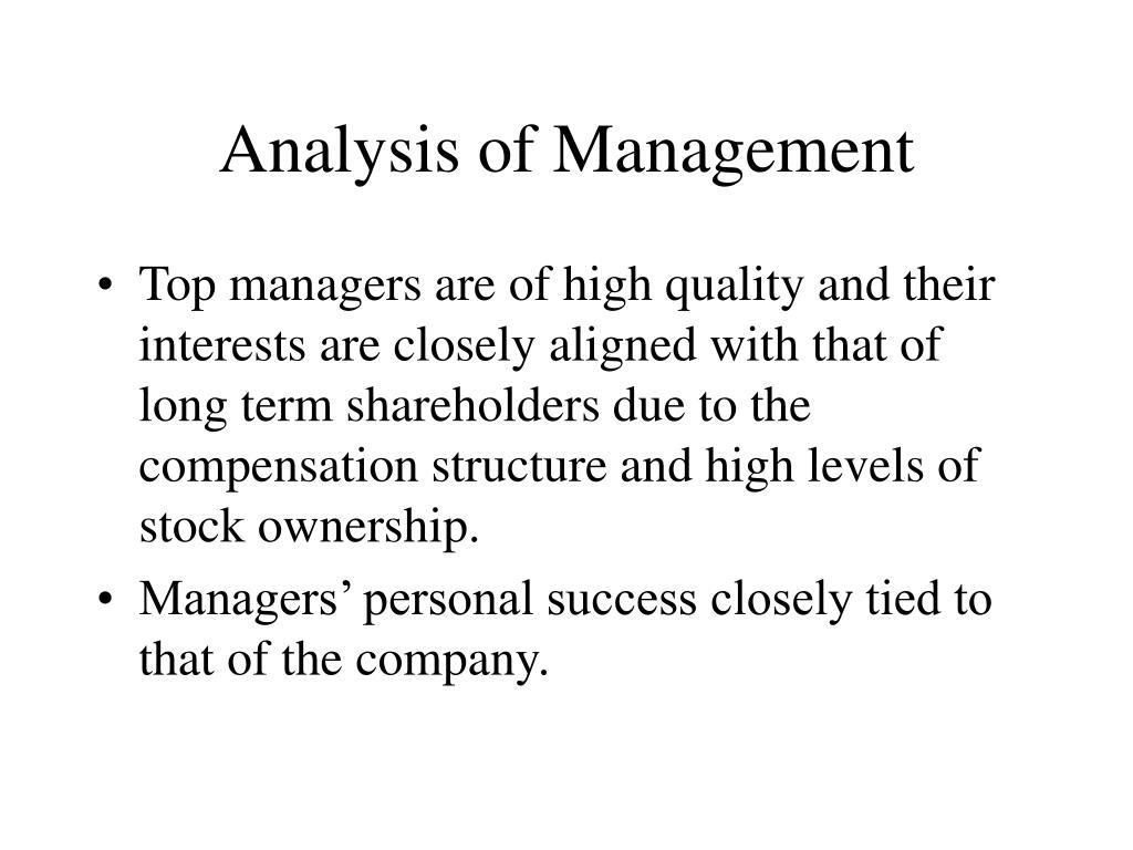 Analysis of Management