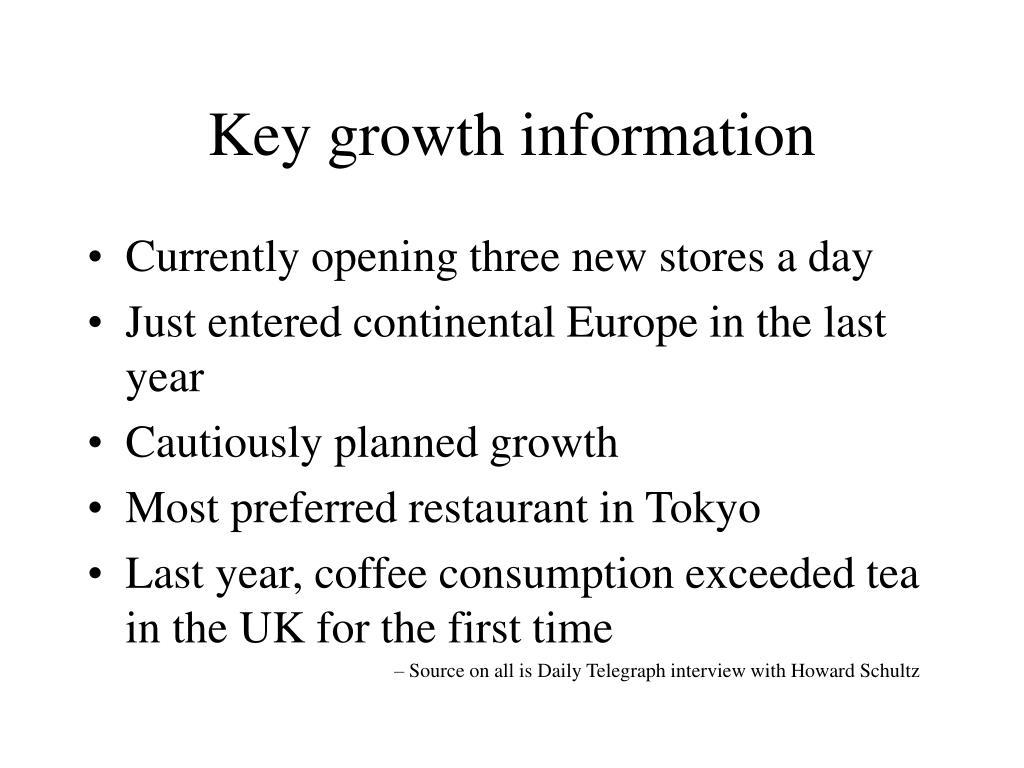Key growth information