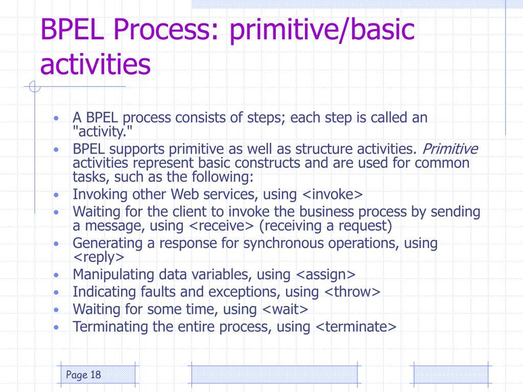BPEL Process: primitive/basic activities
