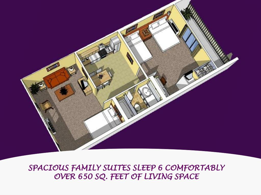 SPACIOUS FAMILY SUITES SLEEP 6 COMFORTABLY  OVER 650 SQ. FEET OF LIVING SPACE
