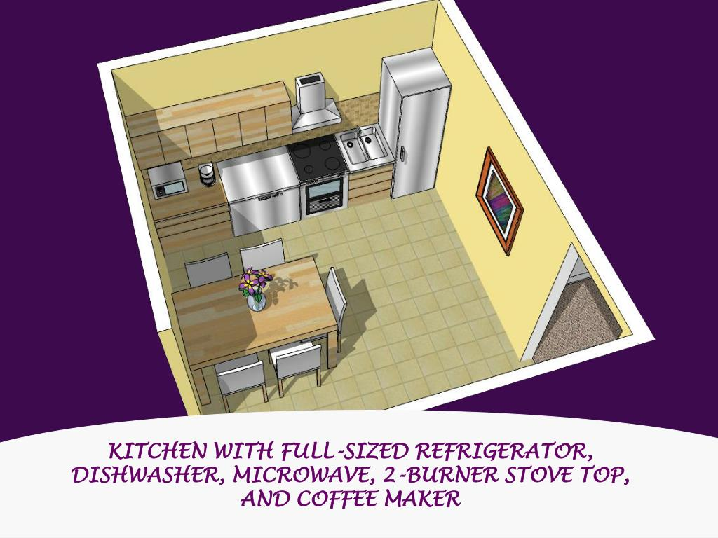 KITCHEN WITH FULL-SIZED REFRIGERATOR, DISHWASHER, MICROWAVE, 2-BURNER STOVE TOP, AND COFFEE MAKER