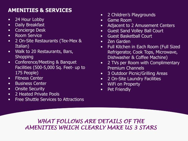 AMENITIES & SERVICES