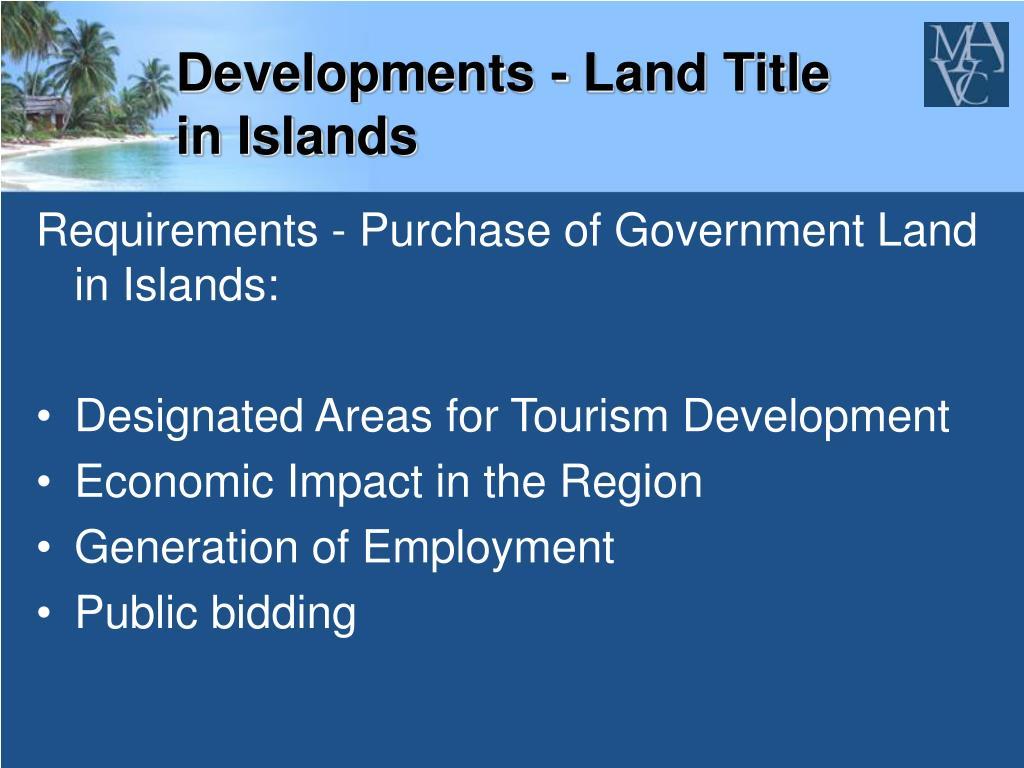 Developments - Land Title