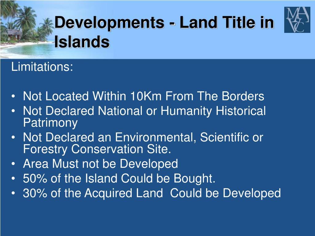 Developments - Land Title in Islands