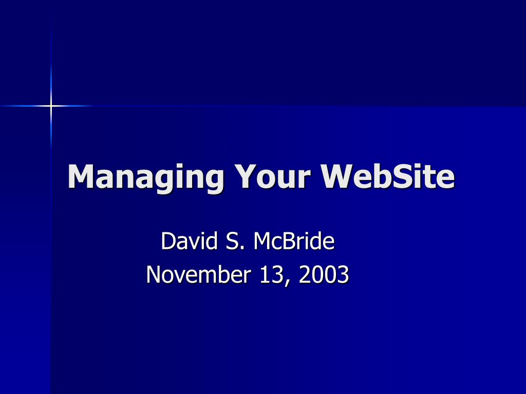 Managing Your WebSite