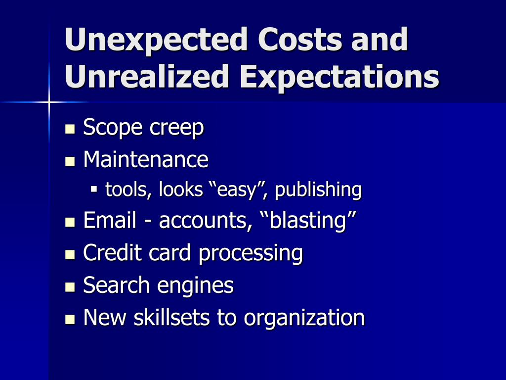 Unexpected Costs and Unrealized Expectations