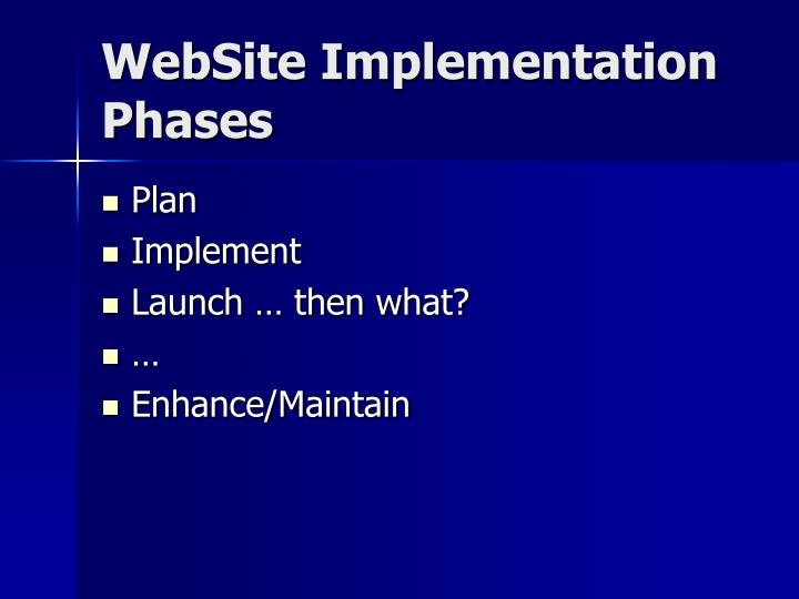 Website implementation phases