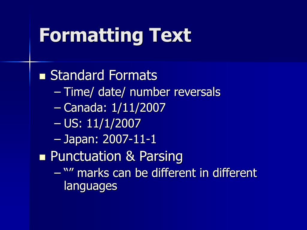 Formatting Text