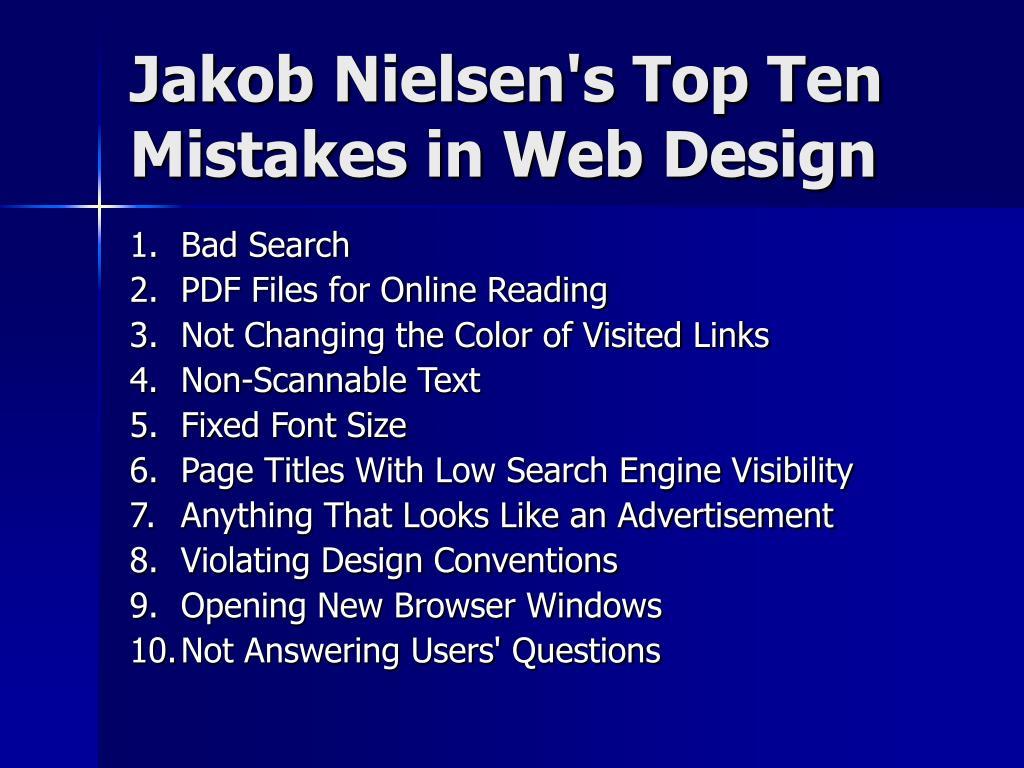 Jakob Nielsen's Top Ten Mistakes in Web Design