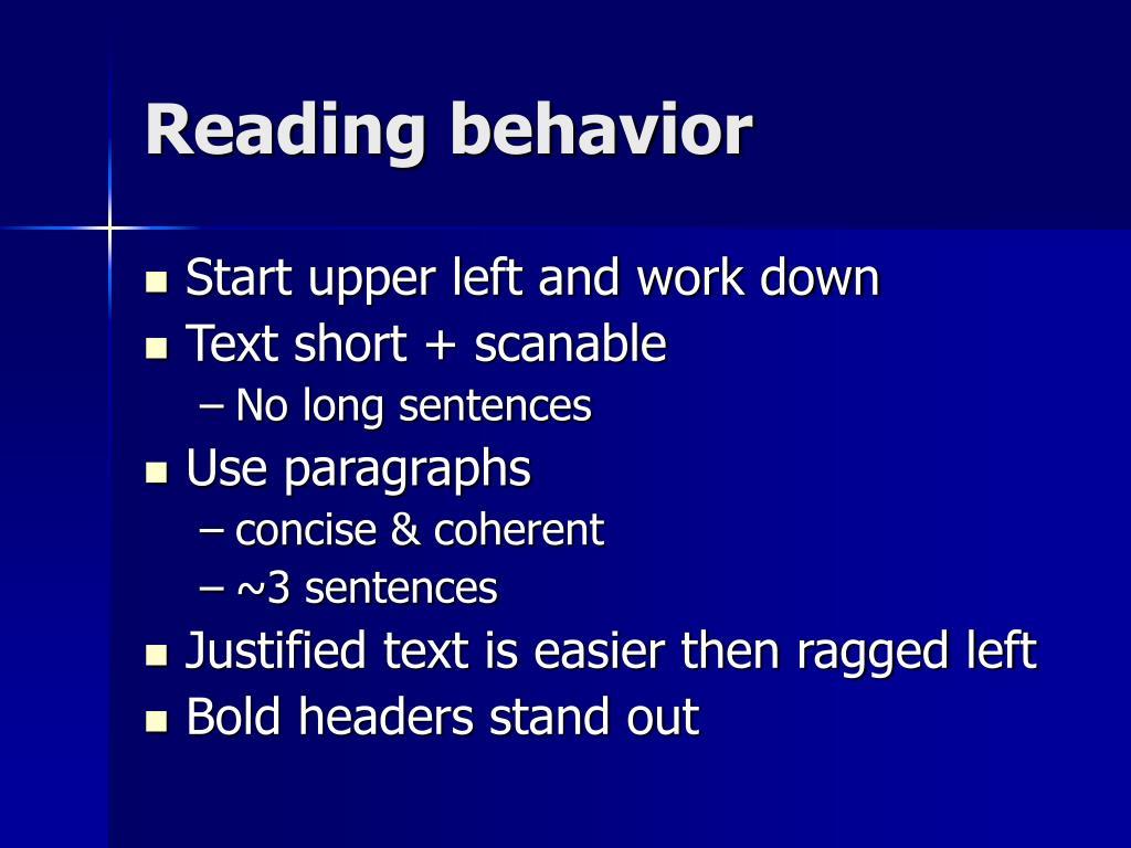 Reading behavior