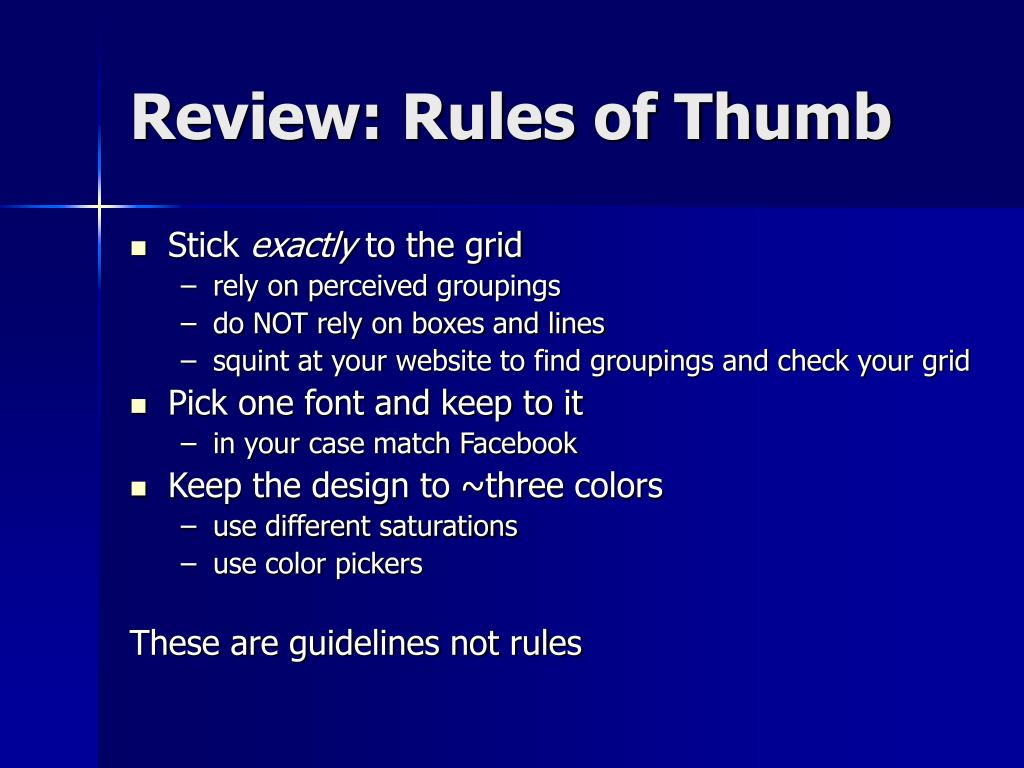Review: Rules of Thumb