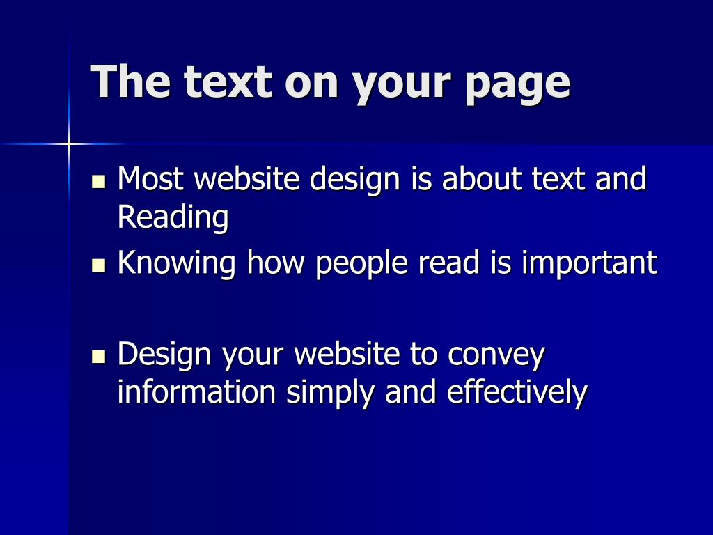 The text on your page