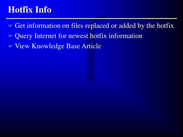 Hotfix Info