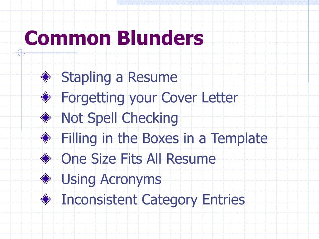 Common Blunders