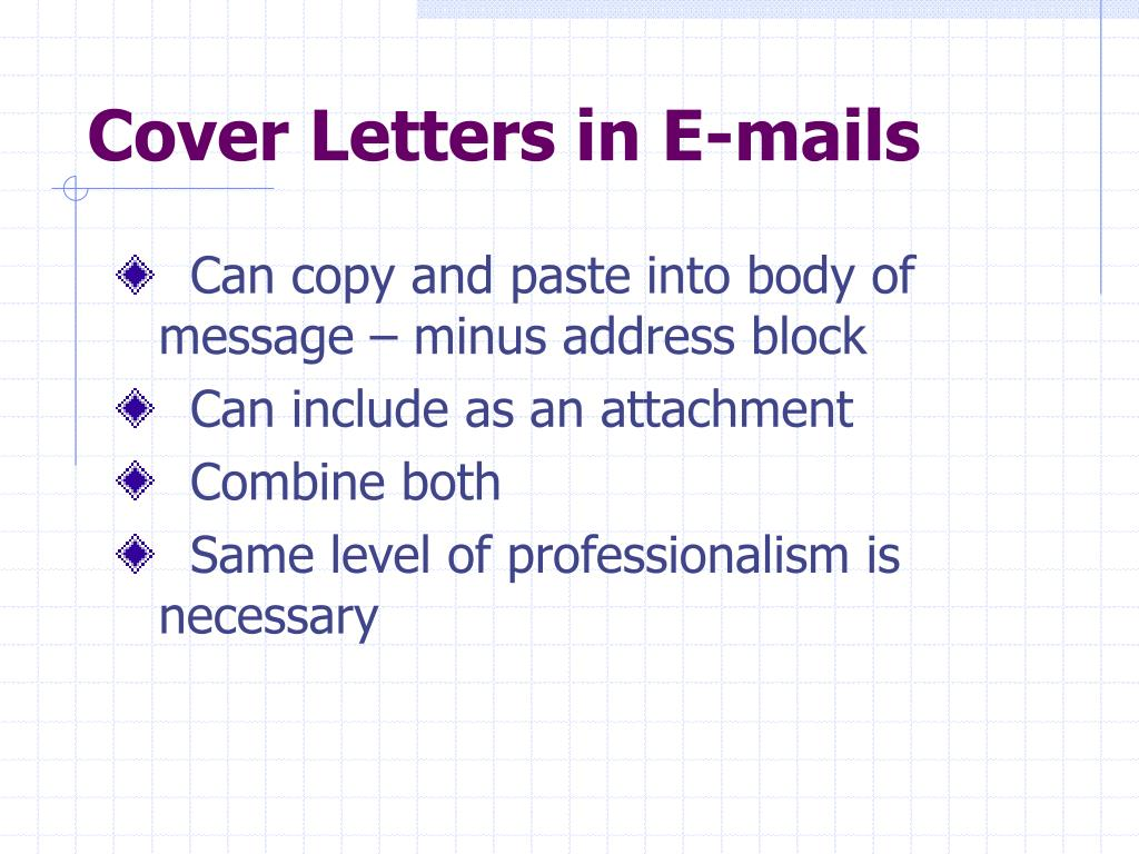 Cover Letters in E-mails