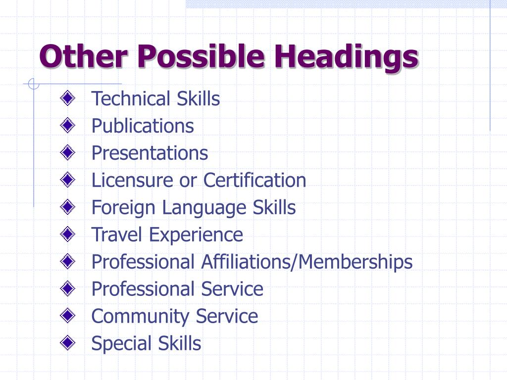 Other Possible Headings