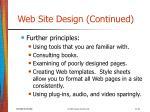 web site design continued