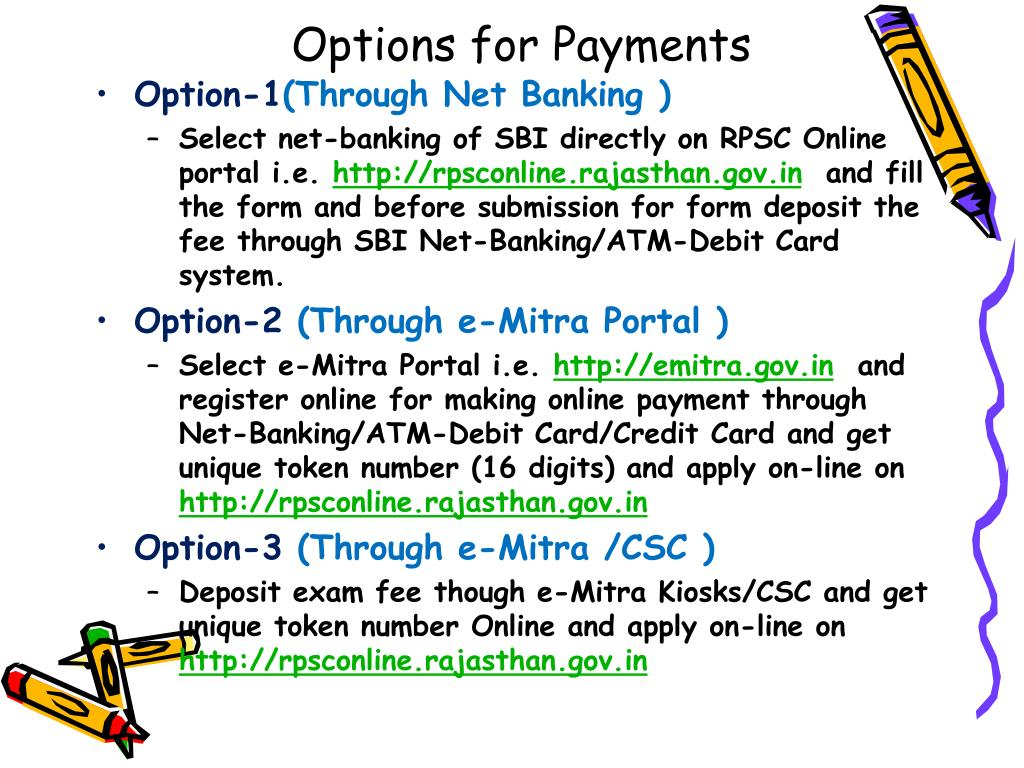 Options for Payments