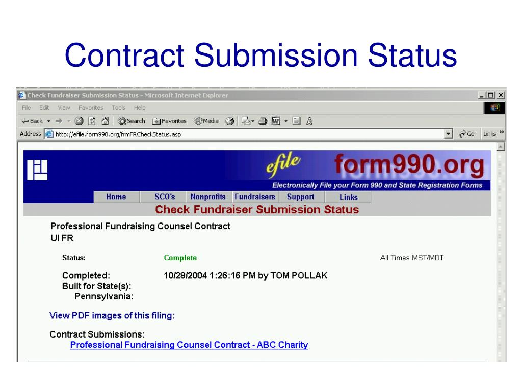 Contract Submission Status