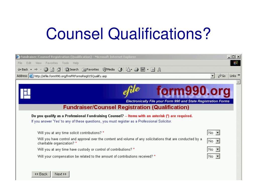Counsel Qualifications?
