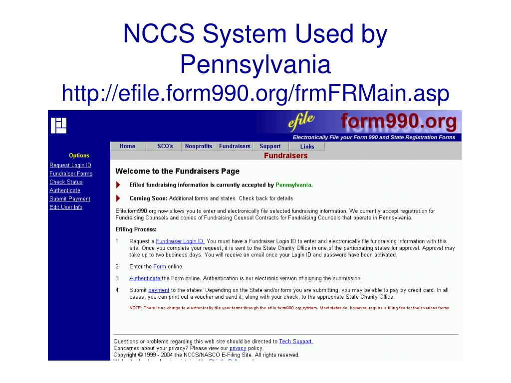 NCCS System Used by Pennsylvania