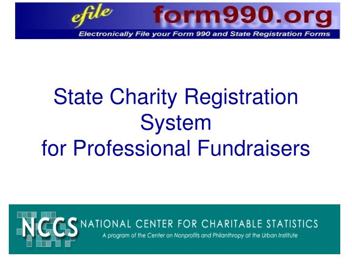 State charity registration system for professional fundraisers